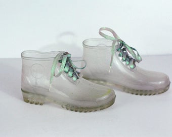 90s Clear Jelly Sneaker Rain Boots Iridescent Laces Size 7.5 38