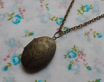 Large Oval Floral Locket Vintage Look Antique Brass Pendent Necklace
