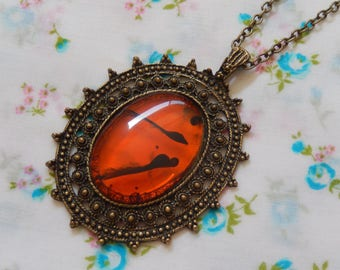 Decorative Antique Brass Pendent with Amber Look Cameo Necklace