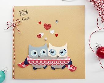 Romantic Christmas Card Handmade Owls | Girlfriend Christmas Card, Boyfriend Christmas Card, Wife Christmas Card, Husband Christmas Card