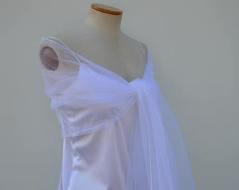 Sale 30% stole white bridal tulle, elegant white scarf
