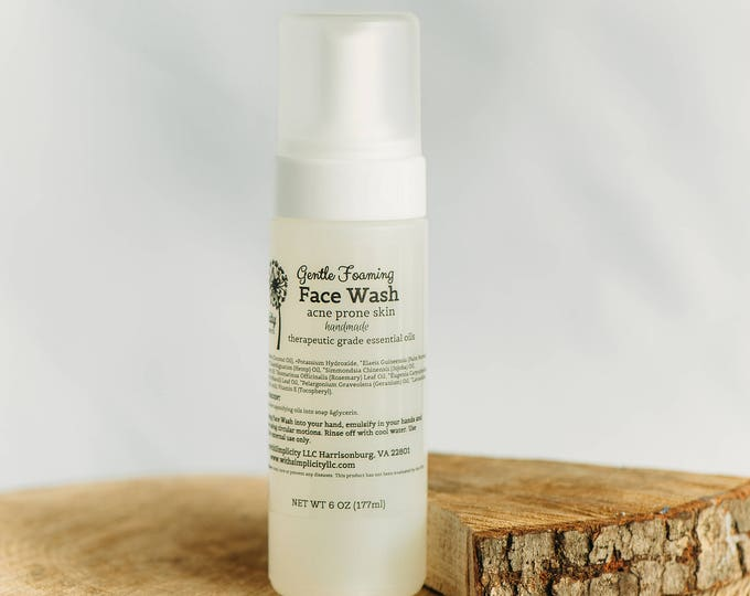 Face Wash Acne Prone Skin, Organic with therapeutic grade essential oils, 6 oz