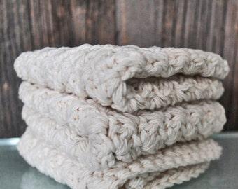 """Set of three crocheted washcloths ,wash cloth - 100% cotton, handmade washcloth, wash cloth, crochet washcloth 6"""" x 6"""""""
