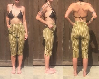 1950's Summer Golden Tan Striped Cotton Capri Pants | Size Small