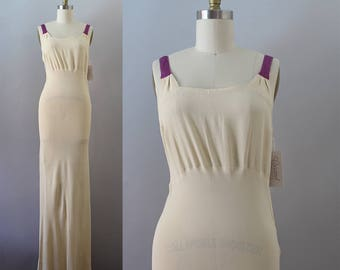 1930s Rayon Gown / Vintage 30s Cream Crepe Dress / S M