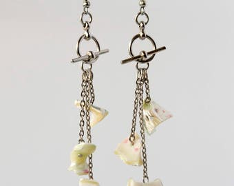 Beaded Green Shell Toggle Clasp Dangle Drop Earrings