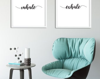 Inhale Exhale, Inhale Exhale Printable, Bedroom Wall Art, Bedroom Decor, Typography Wall Art, Black And White Wall Art, Bathroom Wall Art,