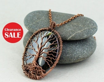 Tree of life necklace Hematite jewelry Copper anniversary gift for her Mothers day gift for daughter necklace December birthstone necklace