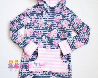 Girls Hoodie Dress, Toddler Dress, Baby Girl Dresses, Hooded Sweatshirt, French Terry, Floral Knit Dress, Long Sleeve Dress, Pocket Dress