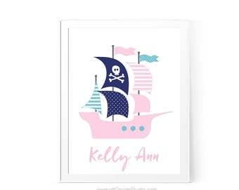 Nautical Nursery Print, Pirate Nautical Ship, Name Print, Custom Name Print, Nursery Wall Art, Baby Shower Gift, Girl Room Decor, CD84-8