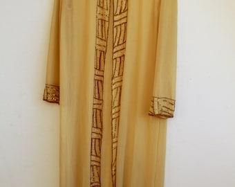 silk sequin embroidery cloak close / 70s' hippie goddess priestess / mantle vintage dress