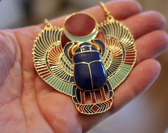 Retro Bronze Scarab Beetle Pendant Egyptian Necklace Jewellery | Kephra | Keph Ra | Kephra Pendant | Kephra Scarab