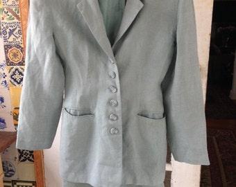 90's aqua linen blend skirt suit, Barami size 2