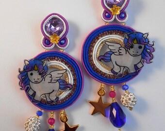 Unicorn earrings, earrings, long earrings, soutache embroidery