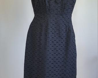 Black Cotton Wiggle Dress s Small