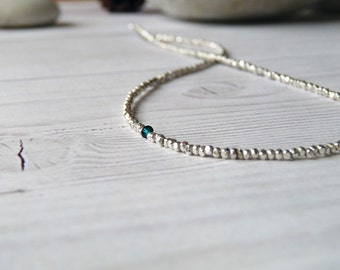 Thin pure silver necklace. Minimalist silver necklace with green Swarovski Crystal. Karen Hill necklace. Gifts for her. Gifts degree
