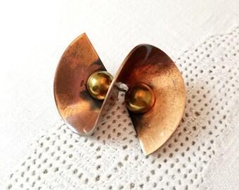 Copper Brass Mid-Century Modern Twist S-Shape Brooch