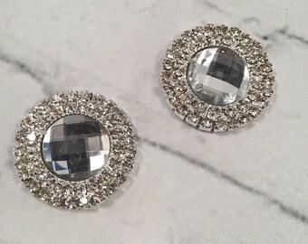 Set of 2 Rhinestone Flatback Gems, ilver FlatBack - DIY - Crafty Collection - 1 Inch, Invitation, Wedding Invitation, Wedding