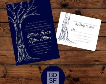 Printable Wedding Invitations // Rustic Tree Design with Carved Heart Initials // Chose Wording and Colors // Fully Customizable