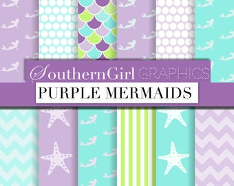 "Purple Mermaid Digital Papers - ""PURPLE MERMAIDS"" mermaid, starfish, dot, striped, chevron, purple, blue, aqua, green digital paper"