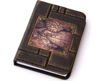 Leather journal, travel journal, writing journal,map