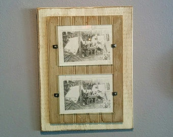 rustic wooden picture frame double 5x7 glass top cottage shabby chic - Double Glass Frame