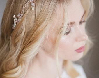 Wedding bridal wreath of pearl beads and glass beads, bridal hair piece, bridal headpiece, wedding headpiece