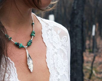 Turquoise, Chrysocholla + Thai Hill Tribe Silver Necklace with Tribal Leaf Pendant