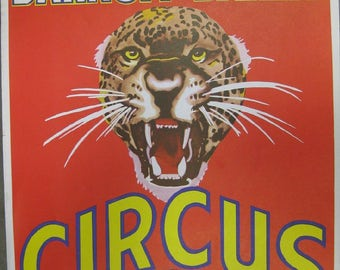 Original Vintage Ringling Brothers Circus Poster Red Back Leopard Tiger Exploding through poster