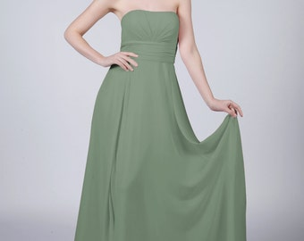 Sage Strapless Long Bridesmaid/Prom Dress by Matchimony