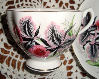 Black and Pink Orchids - Queen Anne  - Fine Bone China England - Vintage Tea Cup and Saucer