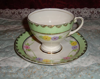 Rare Royal Mayfair - Bone China England - Vintage Tea Cup and Saucer - Rings of Flowers, Green and Gold with Gold Trim