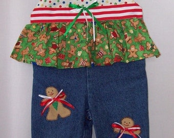 Custom boutique Christmas Gingerbread Man overalls all sizes available