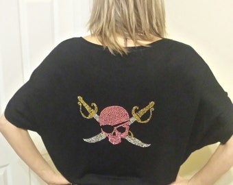 Gasparilla Sparkle Rhinesteone Fashion Top Bling Pirate Skull Crystal Tampa Party T-Shirt Womens S M L XL 2xl