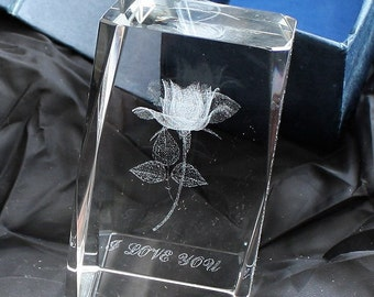 "Crystal Paperweight with 3D Laser Etched ""I LOVE YOU"" Rosebud in Hand Made Vintage Gift Box"