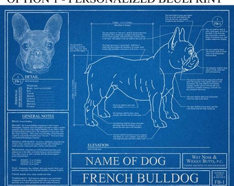 Personalized French Bulldog Blueprint / French Bulldog Art / French Bulldog Wall Art / French Bulldog Print / French Bulldog Gift