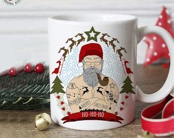 Coffee Mug Funny Santa Tattoo Christmas Coffee Mug - Funny Christmas Gift