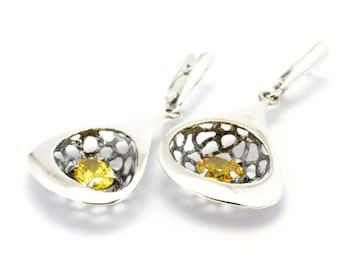 Drop earrings dangle earrings yellow zirconia girft for mom