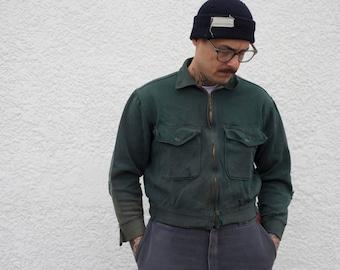 1950s Forest Green Cotton Work Jacket