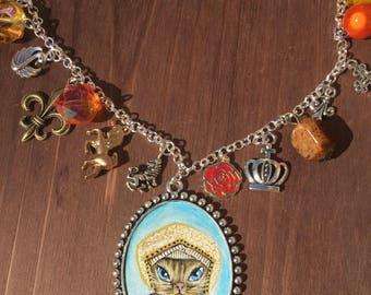 Jane Seymour original miniature painting cat art. Charm necklace unique jewellery. Statement necklaces. Wearable art. Tudor historical.