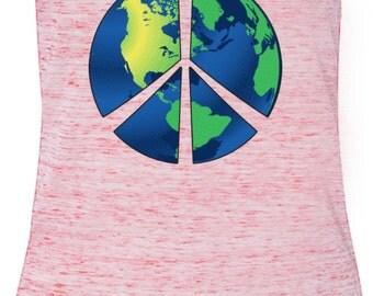 Ladies Peace Tanktop Blue Earth Flowy V-Neck Tank Top BLUEEARTH-8805