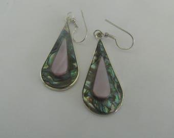 Abalone earrings, sea shell earrings, vintage earrings, handmade earrings, womens earrrings, beach earrings, boho earrings, paua earrings