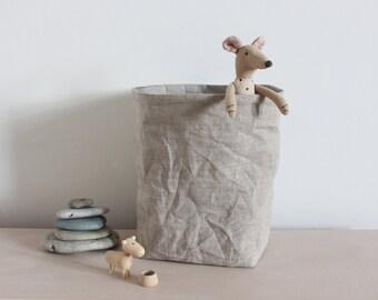 Linen basket, Linen storage bag, washable paper bag, Kitchen storage, bread basket, desk organizer, home decor, hamper, rustic style