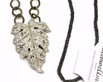 Long Rhinestone Necklaces - Vintage FurClip - Rhinestone Necklace - Caramel Ice Collection 99.99