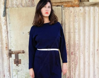 Maxi Dress. Dress. Womens Dress. Vintage Dress. Navy Dress. Vintage Clothing. Clothing. 70s.Navy Sophisticated Vintage Dress For Women 1970s