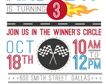 Racing Cars Birthday Party Invitation & Party Set | PERSONALIZED