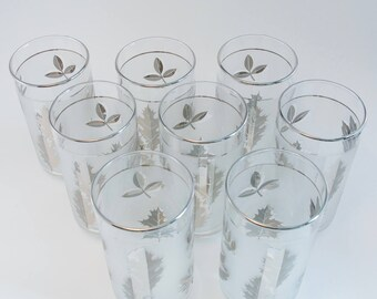 Libbey Silver Foliage pattern Hostess Glass Set of Eight in original box