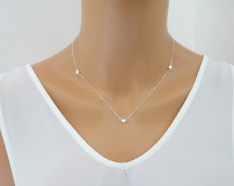 STERLING SILVER Triple Star necklace, Dainty Star Charm necklace, Delicate jewelry