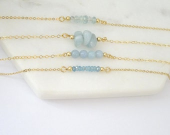 Gold Aquamarine Necklace, Faceted Aquamarine necklace, March Birthstone necklace, Beaded Rose gold fill Aquamarine necklace, Gemstone