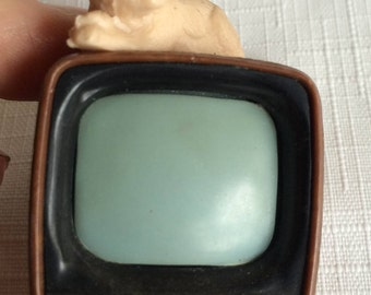 Doll Furniture TV,Doll Television,Dollhouse TV,Dollhouse Cat,Doll Furniture Cat,Retro Doll tv,Retro Dollhouse TV,Dollhouse Television,